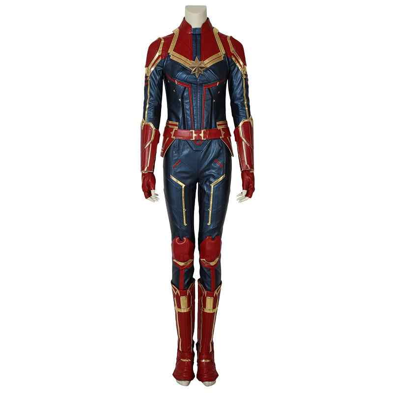 Dalam Saham Captain Marvel Kostum Ms. Marvel Carol Danvers Cosplay Kulit Jumpsuit Wanita Dewasa Pesta Halloween Pakaian Custom Made