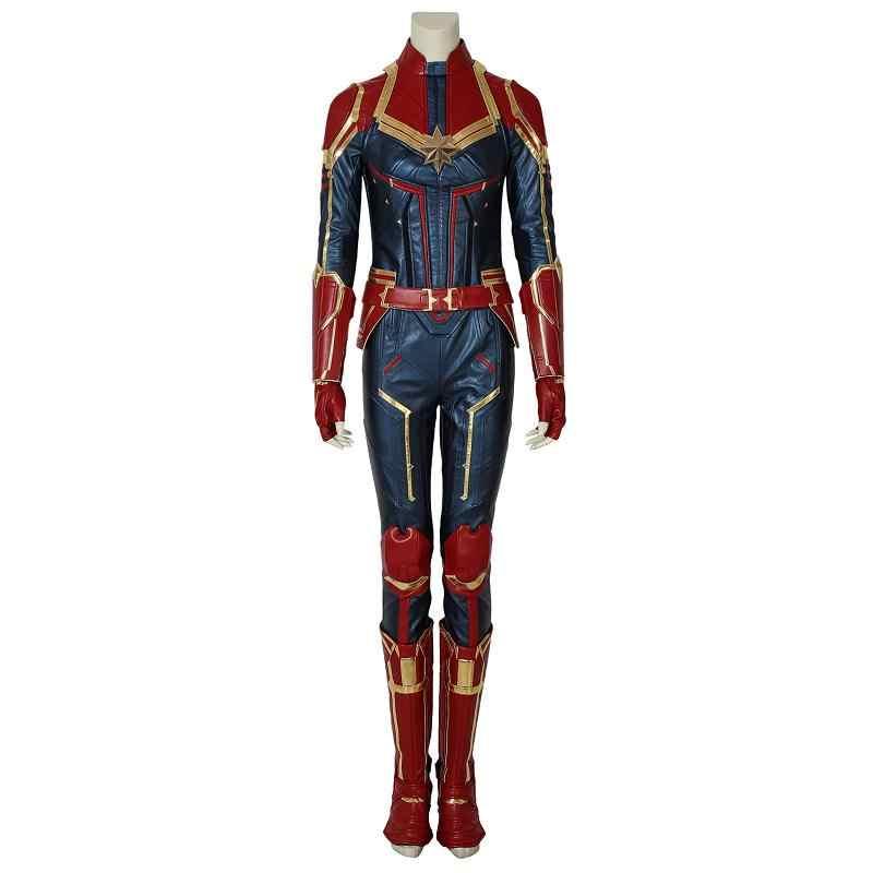 Em estoque capitão marvel traje miss marvel carol danvers cosplay macacão de couro adulto feminino festa de halloween outfit feito sob encomenda