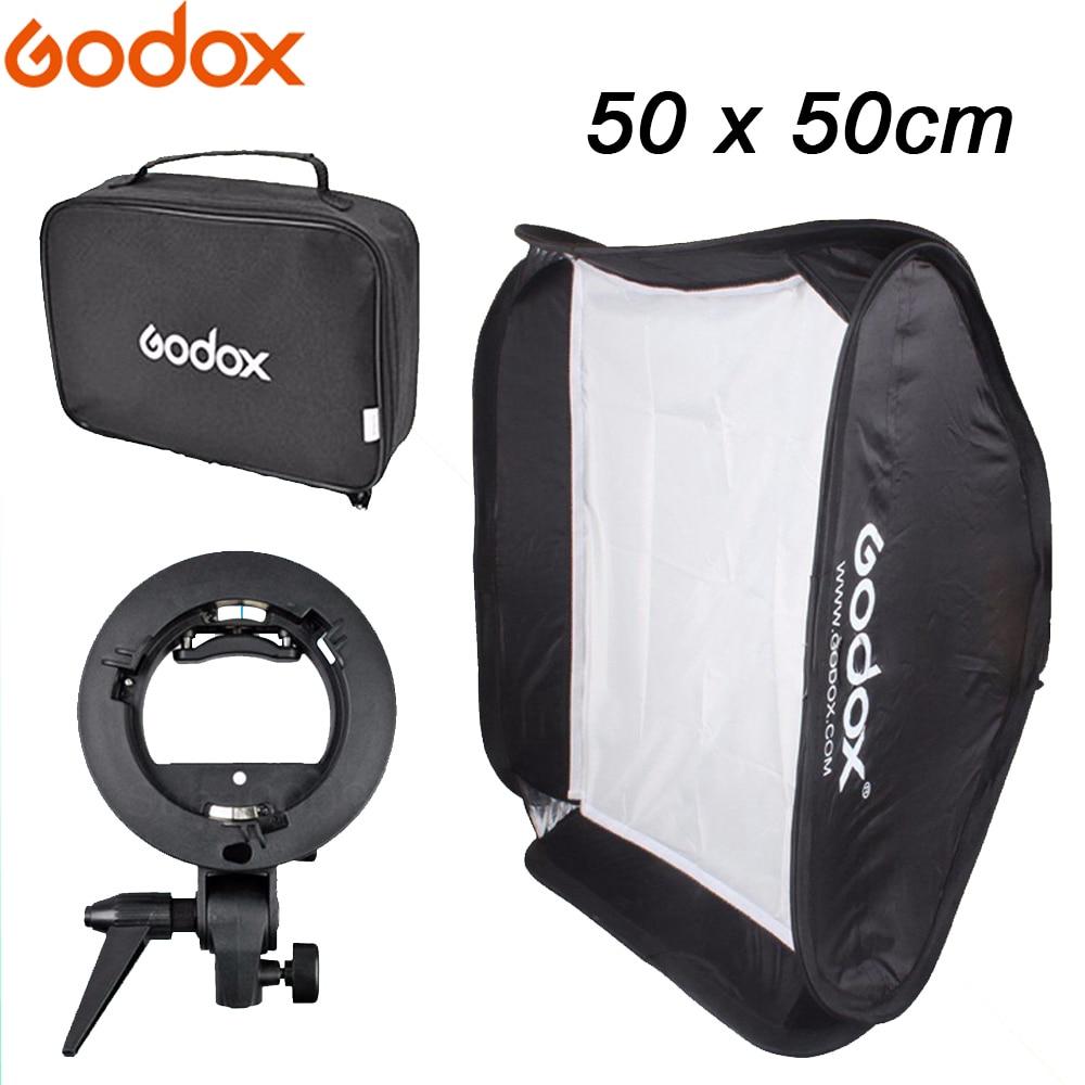 "Godox 50 * 50cm / 50cm*50cm / 20"" * 20"" Softbox Diffuser + S-type Bracket Bowens Holder for Studio Photo Speedlite Flash Light"