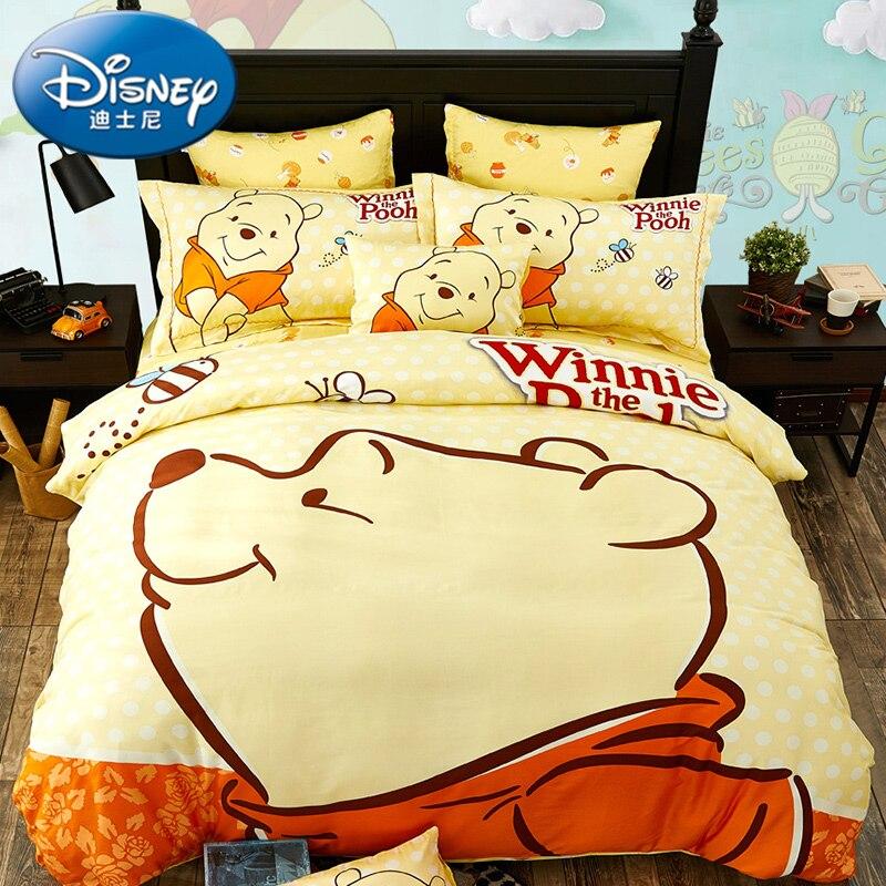 Dibujos animados de Disney amarillo Winnie Baymax Minnie Mouse 3D imprimir ropa de cama juego de edredón funda de almohada 100% algodón-in Juegos de ropa de cama from Hogar y Mascotas    2