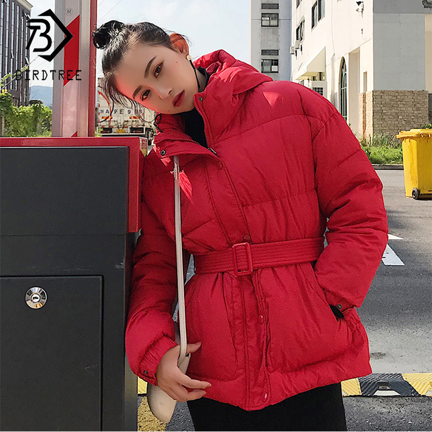 2018 New Arrival Fashion Warm Winter   Parkas   Loose Women's Slim Female Sashes Chic Hooded Casual Short Down   Parkas   Hot C89624L