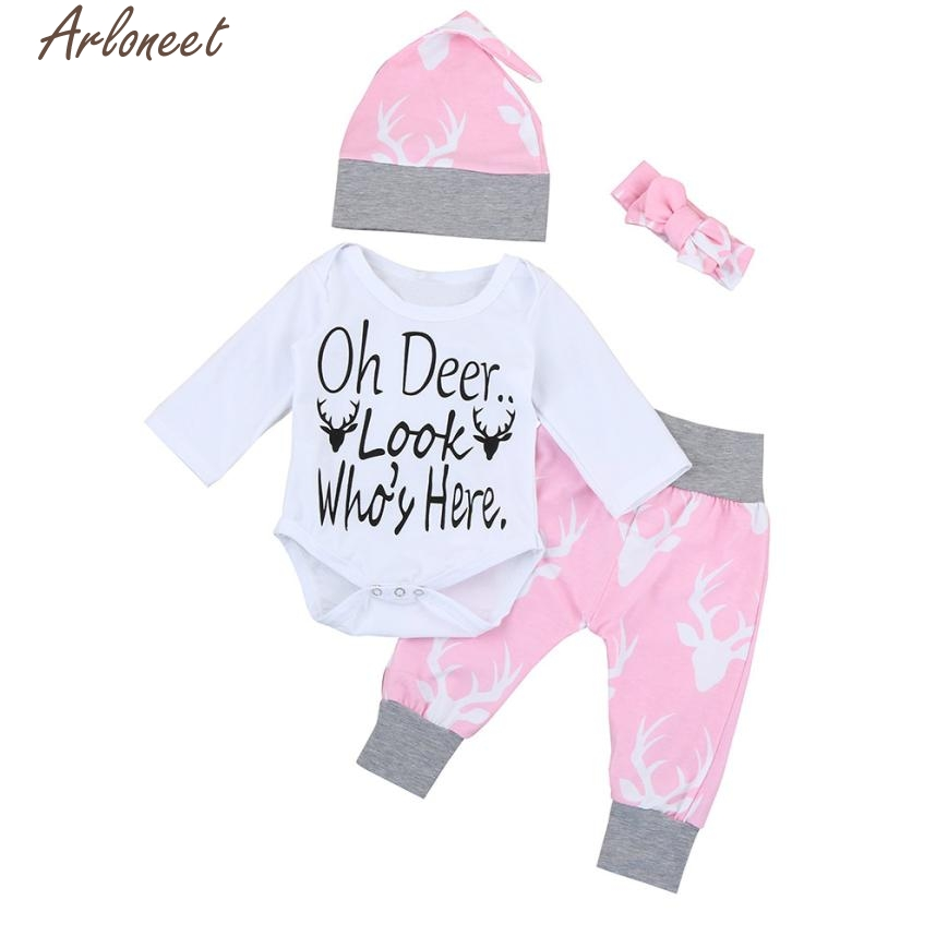 New Year Fashion Baby Boy Girl Clothes Newborn Kids Baby Girls Boys Outfits Clothes Romper Tops+Pants+Hat+Headband Set #
