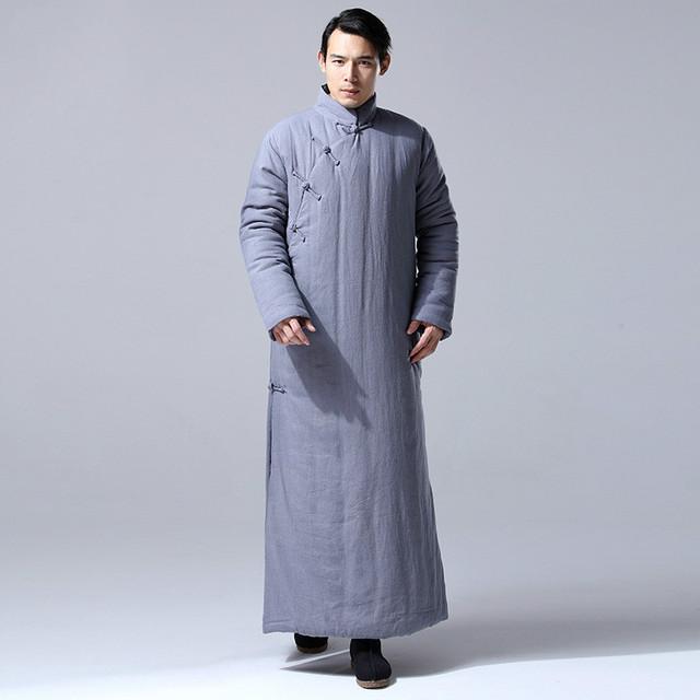 Inverno Outwear Retro China Kung Fu dos homens Robe de Algodão-acolchoado Casaco Longo de Linho de Algodão Longo Engrossar Casaco Quente U08
