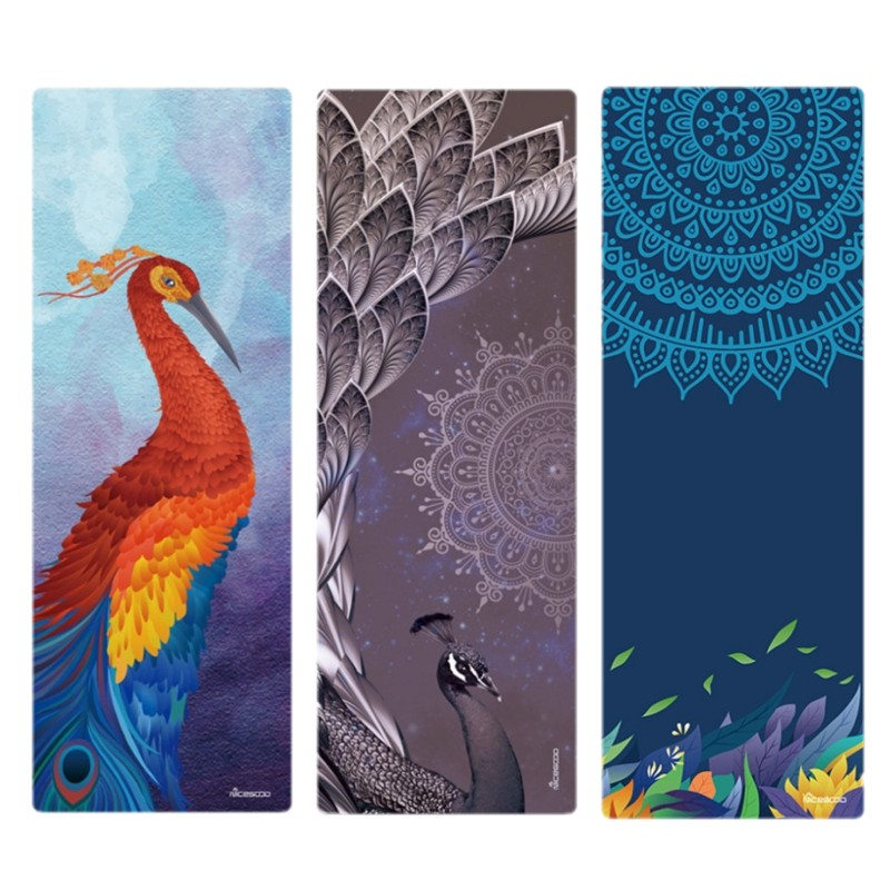Yoga Mat Printed Suede Natural Rubber Yoga Mat 3.5mm Thick Anti Slip Printed Pilates Exercise Mat Sport Mats Dance Fitness Pad printed yoga mat travel mat 183 61 0 15cm anti slip foldable yoga pilates pad exercise mats for gym fitness sports dance cover