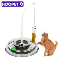 Hoopet Amusing Pet Cat Toys Rotating Feather Teaser Plastic Turner Catnip Track Moving Ball Cat Kitten Toy Interactive Training