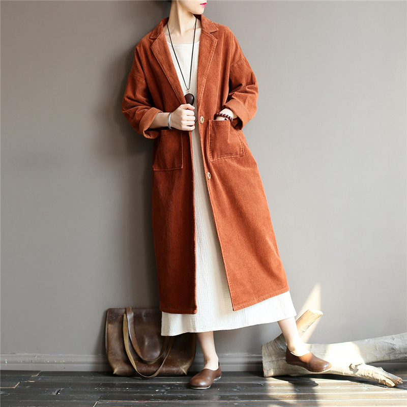 Johnature Women Corduroy   Trench   Coats 2018 Autumn Winter New Solid Color Long Sleeve Button Pockets Casual Loose Women   Trench