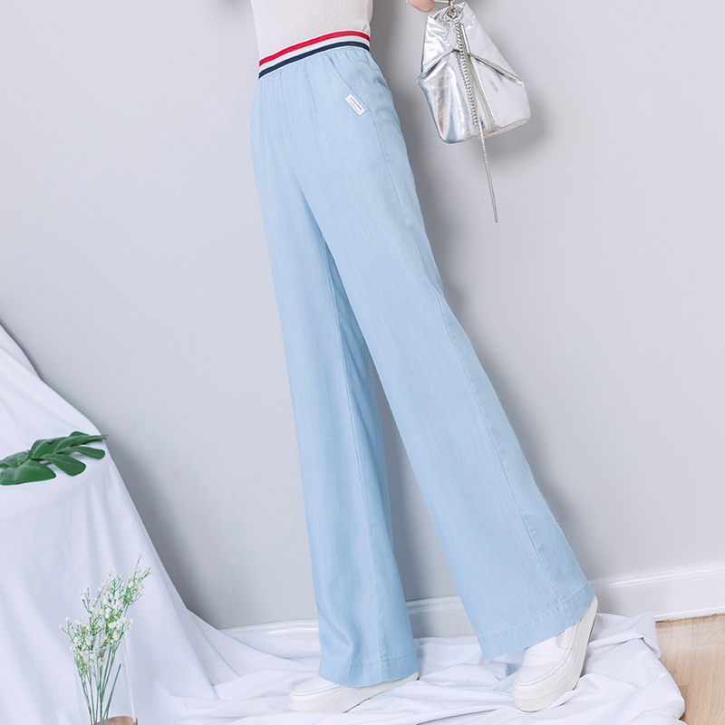 Women Tencel   Wide     Leg     Pants   Full Length 2019 Summer Streetwear High Waist Boyfriend Jeans Plus Size Korean Style Trousers Women