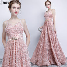 JaneVini Dusty Pink Long Wedding Party Prom Dresses With Pockets Elegant Spaghetti Straps Floor Length Ladies Bridesmaid Dress(China)