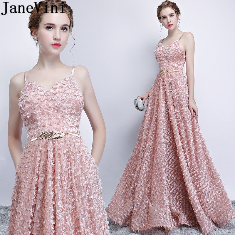 JaneVini Dusty Pink Long Wedding Party Prom   Dresses   With Pockets Elegant Spaghetti Straps Floor Length Ladies   Bridesmaid     Dress
