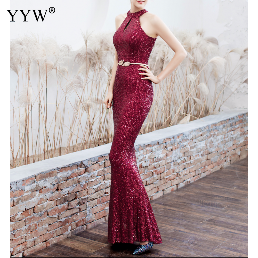 Elegant Sequined Halter Sleeveless Mermaid Long Evening Dress 4