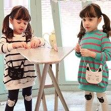Sales hot Spring Autumn Children Clothing Suits Girls Clothes Sets Cotton Girl Casual Suit, Kids Fashion Wear Strip Shirt+Pants