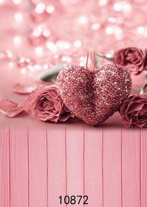 Image 2 - ピンクローズハート 3D 写真撮影フォトスタジオの背景バレンタイン写真の背景ビニール背景ベビーシャワー photophone