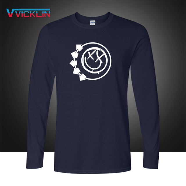 Blink 182 Smiley Face Punk Rock Roll T Shirts Pop Music Long Sleeve