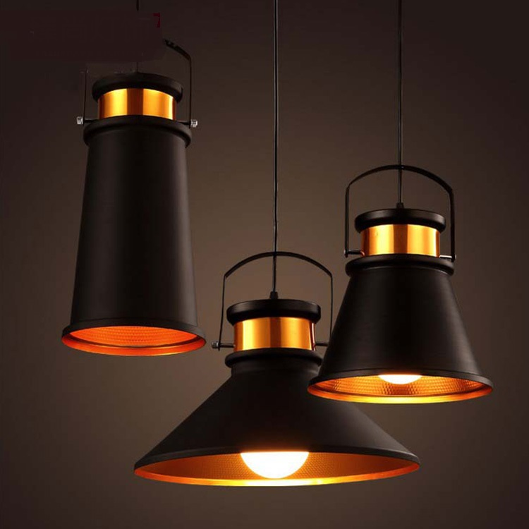 A1 Vintage Black Industrial restaurant pendant light creative personality simple art bar single head Iron lamp FG358