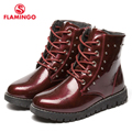 FLAMINGO otoño/invierno mantener caliente de arranque de encaje de alta calidad-Anti-slip niños zapatos para niña envío gratis 82B-MLB-0911/0912