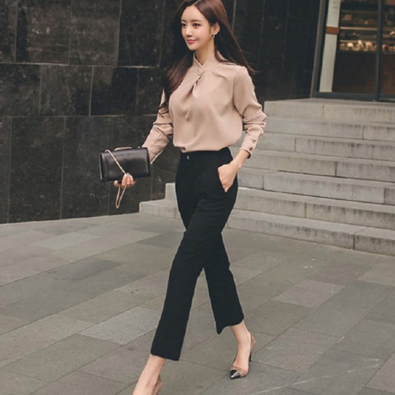 2018 Summer Woman Business Suit Office Suits Work Women Slim Stand Collar Loose Chiffon Blouse+Straight Pants 2pcs Pants Suits