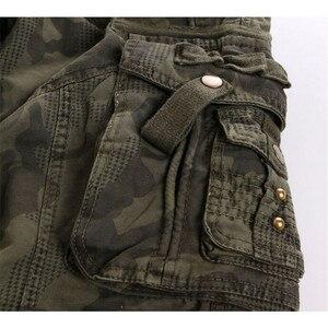 Image 3 - Мужские хлопковые военные мульти карманные утилитарные повседневные просторные брюки карго полной длины для улицы, Рабочие камуфляжные штаны, Размеры 30   38