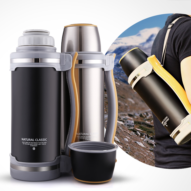 2L Stainless Steel Feeding Thermos Insulation Flask Heat Feeding Coffee Mug Outdoor Drinking Kettle Mug for Hiking Travel outdoor travel stainless steel mug white silver large size 155ml