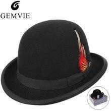 Clásico sombrero de los hombres de estilo británico sombreros 100% fieltro  de lana sombrero de Color sólido rollo ala Bowler tap. 2d264af3464