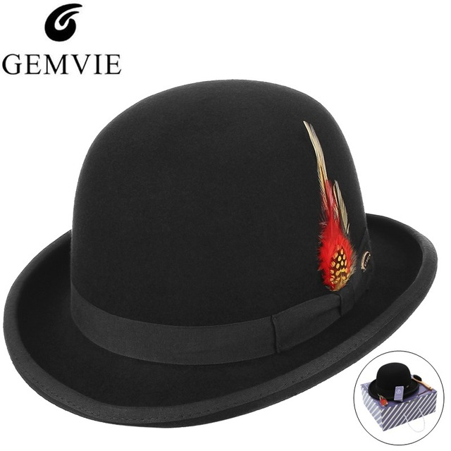 410a284526182 Classical Top Hat Men British Style Fedoras 100% Wool Felt Hat Solid Color  Roll Brim Bowler Cap President Hat With Box