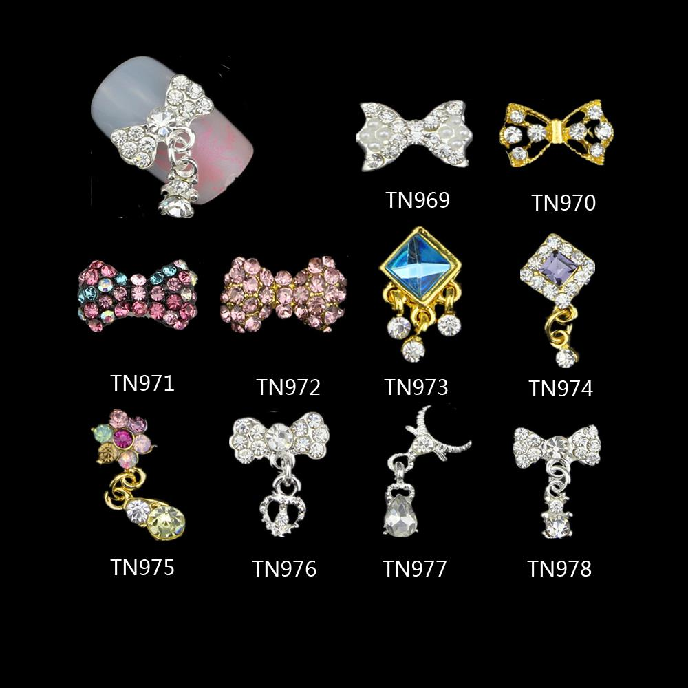 Nail Art Rhinestones 10 Pcs/Lot 3D Nails Charms Jewelry Alloy Bow Tie With Pendant Glitter Crystal Decorations 10pcs glitter crystal nail gem rhinestones alloy 3d nail art jewelry diy phone case decoration mns784