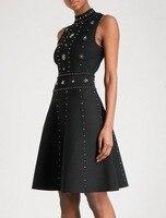 2018 Spring & Summer New Black Beaded Sexy Stretch Knit Dress Women's Dress 180117FH01