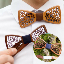 Formal Commercial Wooden Bow Tie Male Solid Color Ties For Men Butterfly Cravat Wood wedding party bow tie