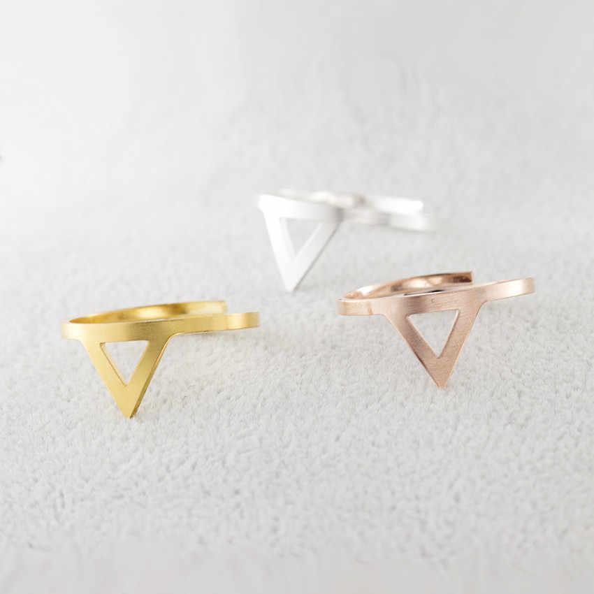 Minimalist สามเหลี่ยม MIDI แหวน Bague Homme Rose Gold สีสแตนเลสเรขาคณิตแหวนแฟชั่นเครื่องประดับ