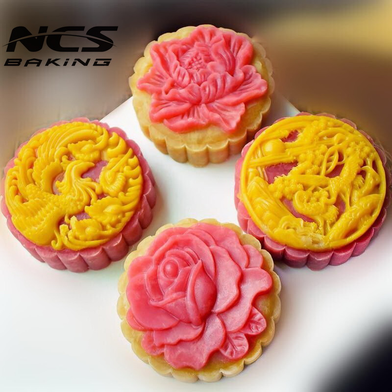 Conscientious 150g Round Shape Flower Phoenix Crane Mooncake Mung Bean Cake Molds Mould With 4 Stamps Plastic Hand Pressure 50sets/lot Home
