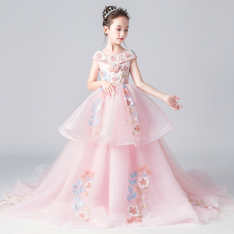 Luxury Embroidery Pink Flower Girl Dresses for Wedding Off Shoulder Long Trailing Holy Communion Dress V-neck Evening Gowns G307Luxury Embroidery Pink Flower Girl Dresses for Wedding Off Shoulder Long Trailing Holy Communion Dress V-neck Evening Gowns G307