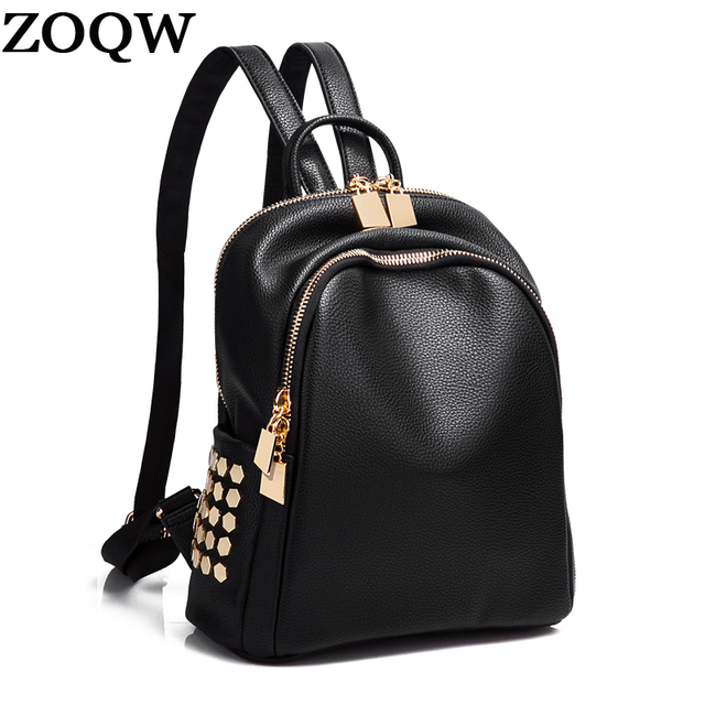f25add586 Las mujeres Mochila de cuero negro pequeño remache DE LA ESCUELA mochilas  para chicas adolescentes de