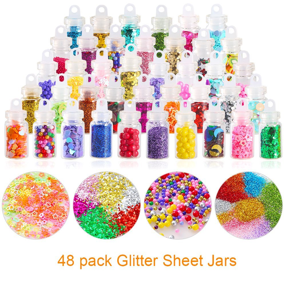 Apparel Sewing & Fabric 80pack Slime Making Kit Styrofoam Foam Balls Beads Charms Glitter Jars Containers Slime For Diy Craft Handmade Party Supply