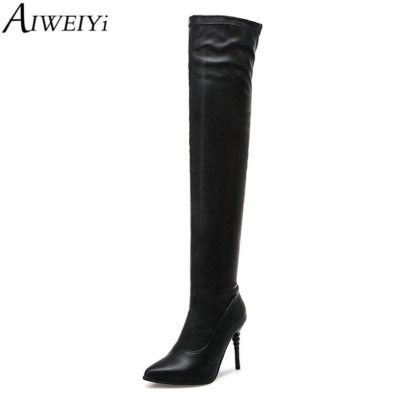 AIWEIYi bout pointu sur les bottes au genou pour les femmes noir mince talons hauts Slim bottes tirer sur les cuissardes bottes chaudes d'hiver