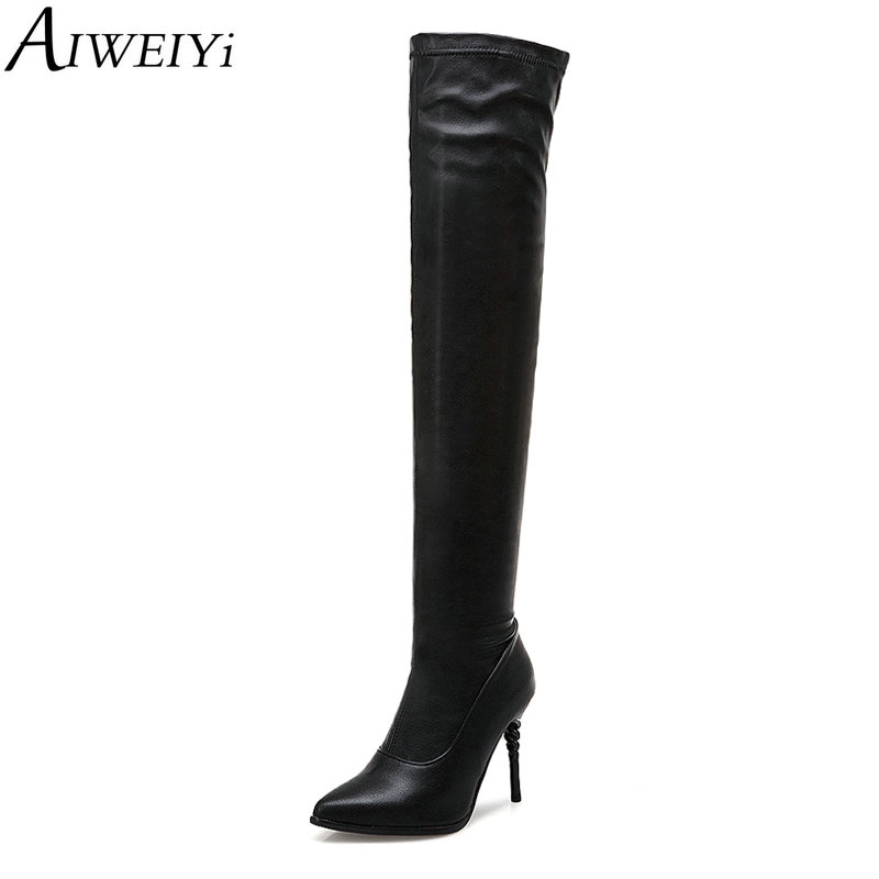 AIWEIYi Pointed toe Over the Knee Boots for Women Black Thin High Heels Slim Boots Pull On Thigh High Boots Warm Winter Boots