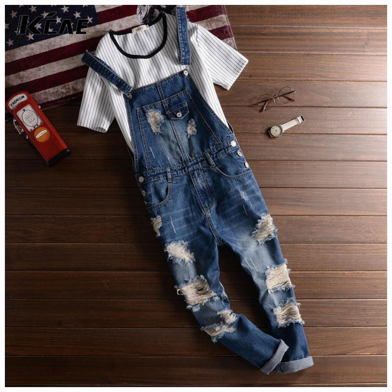 Men's Cool Ripped Hole Blue Denim Overalls Mens denim jumpsuit bib pants Suspenders Trouser For Man straight jeans For male XXL men cool ripped hole blue denim overalls men denim jumpsuit bib pants suspenders trouser for man long slim jeans for male 063007