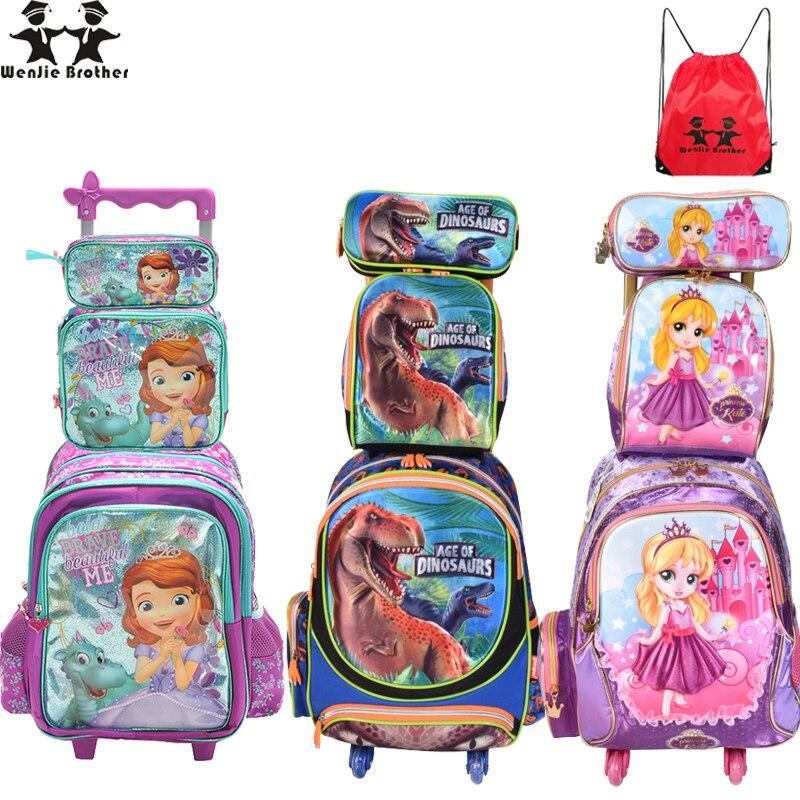 Wenjie frère enfants Mochilas enfants sacs d'école avec roue Trolley bagages pour garçons filles sac à dos Mochila Infantil Bolsas