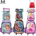 Wenjie hermano niños Mochilas de los niños escuela Bolsas con rueda de carro de equipaje para niños niñas Mochila Bolsas