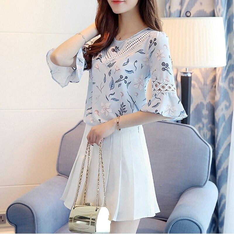 Women Blouses 2018 Chiffon Print Flare Sleeve Blusas Work Shirts For Womens Elegant Blouses Plus Size Female Summer Tops YM363