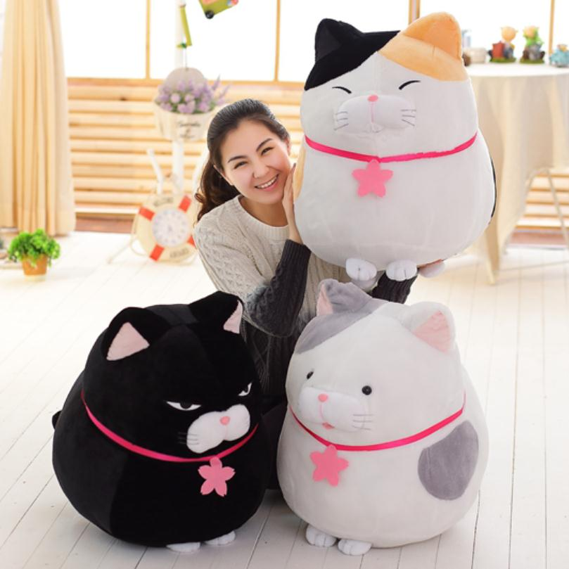 1PC Big Size Soft Animal Cartoon Pillow Cushion Cute Fat Cats Plush Toy Stuffed Lovely Kids Birthyday Gift