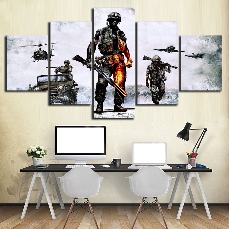 5 Piece Fantasy Shooting Game Poster Battlefield HD Wall Picture Canvas Art for Living Room Wall Decor 3