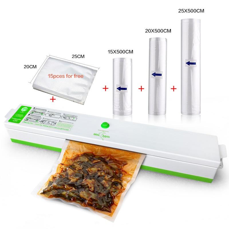 3 Rolls Food Vacuum Bags Sealer Packaging Machine Film Sealer Vacuum Packer Meet Vegetable Fresh Bags