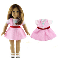 1 PC American Girl Doll Clothes Of Pink Dress With Heart Pattern For 18 American Girl