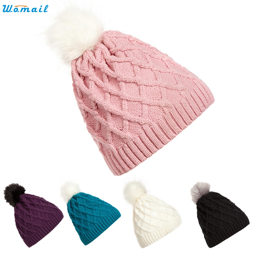 Skullies Womail Women Warm Winter Fur Knitted Wool Crochet Cap Beanie Fashion WillBeen Mar10 Drop Shipping skullies