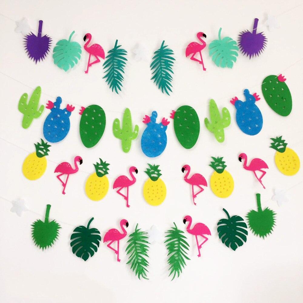 DIY Flamingos Pineapple Cactus Coconut Leave Garland Banner Birthday ...