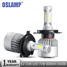 Oslamp H4 H7 H11 9005 9006 H1 COB Car LED Headlight Bulbs Hi-Lo Beam 72W 8000LM 6500K/4300K Auto Led Headlamp Car Light 12v 24v(China)