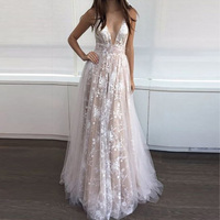 Womens Lace Backless Evening Prom Gown Cocktail Wedding Maxi Long Dress S M L Xl