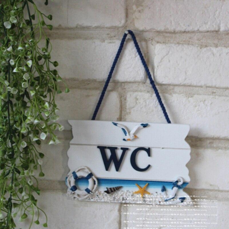 Mediterranean Style Wooden WC Doorplate Door Hang Tag WC Bathroom Toilet Household Door Decoration Board