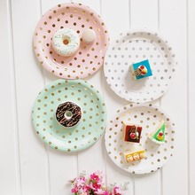 Disposable Plates Straw Mint Green Pink Gold Foil Dot 7