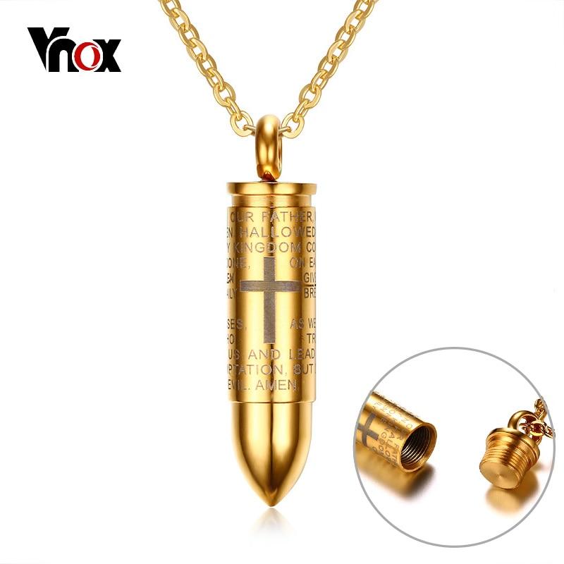 Vnox Bullet Pendant For Men Engraved Cross Lord Bible