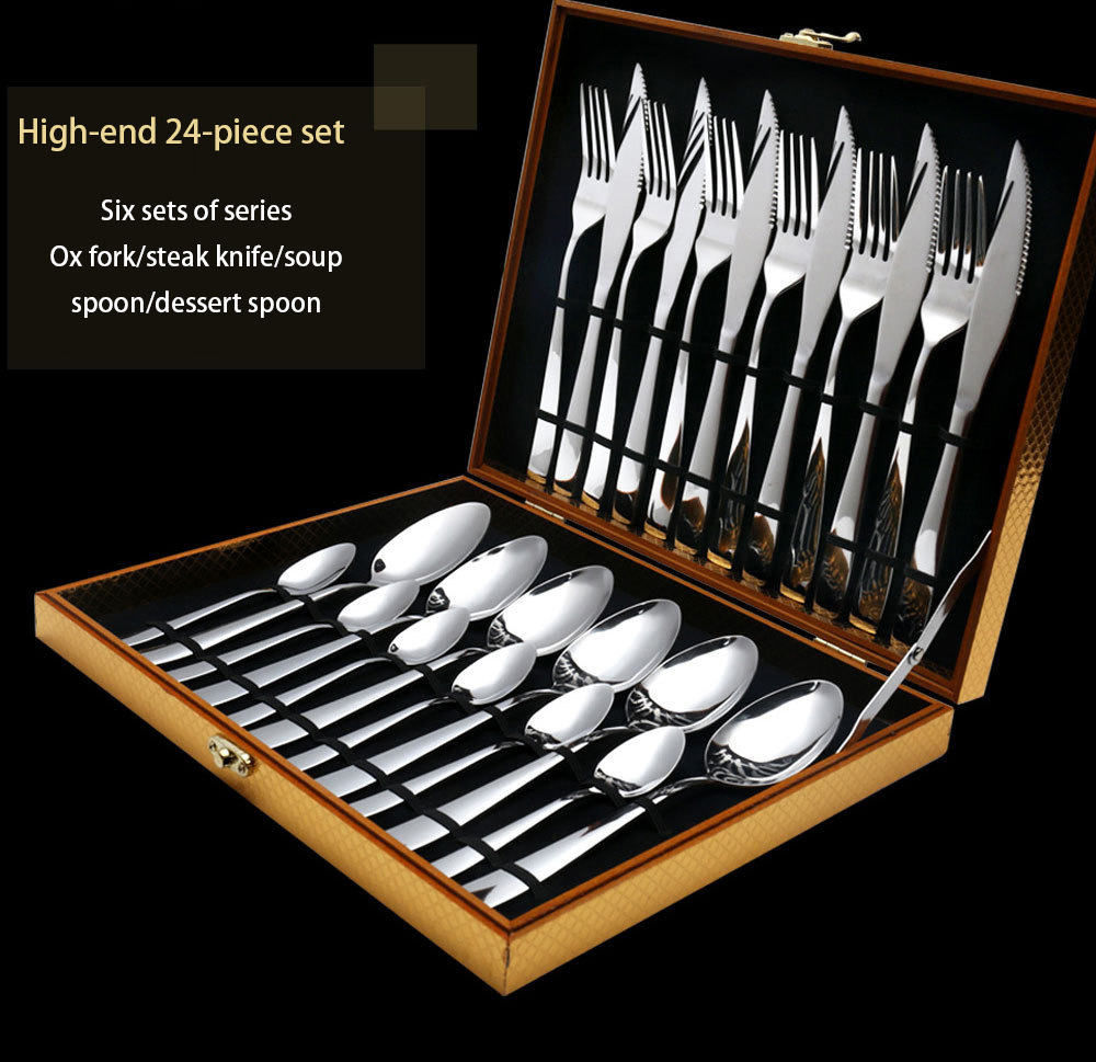Hot Sale 24 Pcs set Pure Solid Color Dinnerware Stainless Steel Western knife Cutlery Kitchen Food